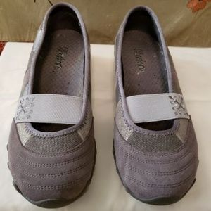 New Skechers leather textile slip on flat, size 7M